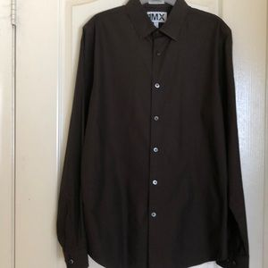 1MX Express extra slim fit brown long sleeve Large
